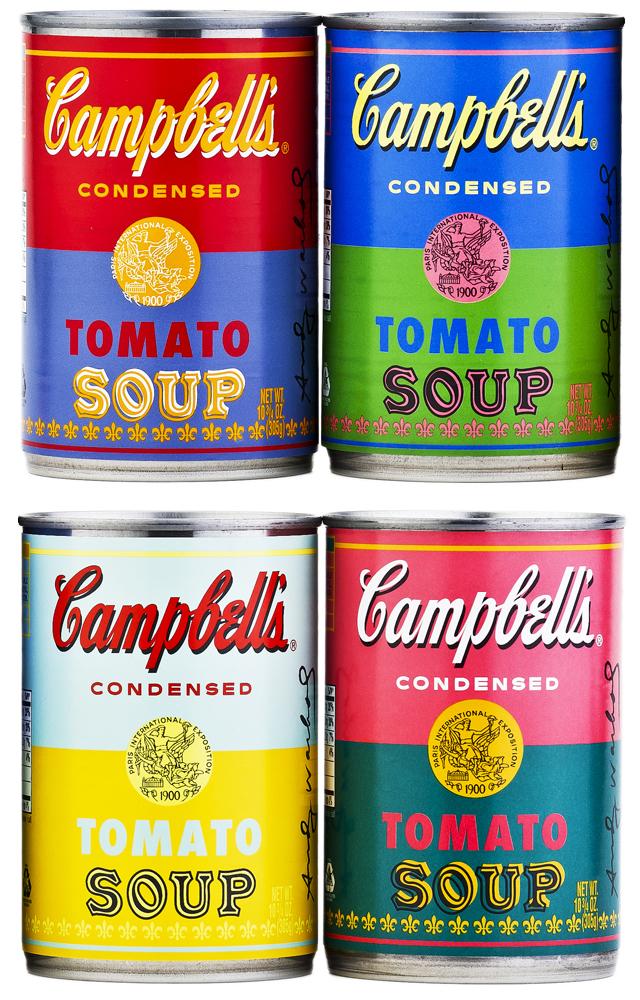campbell's soup edizione limitata 2012 su grafica di Andy Warhol