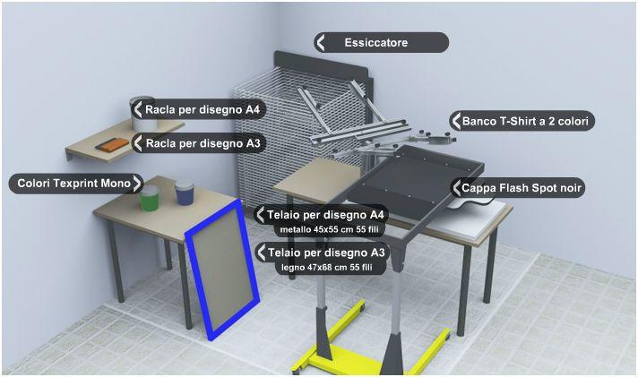 laboratorio di serigrafia completo