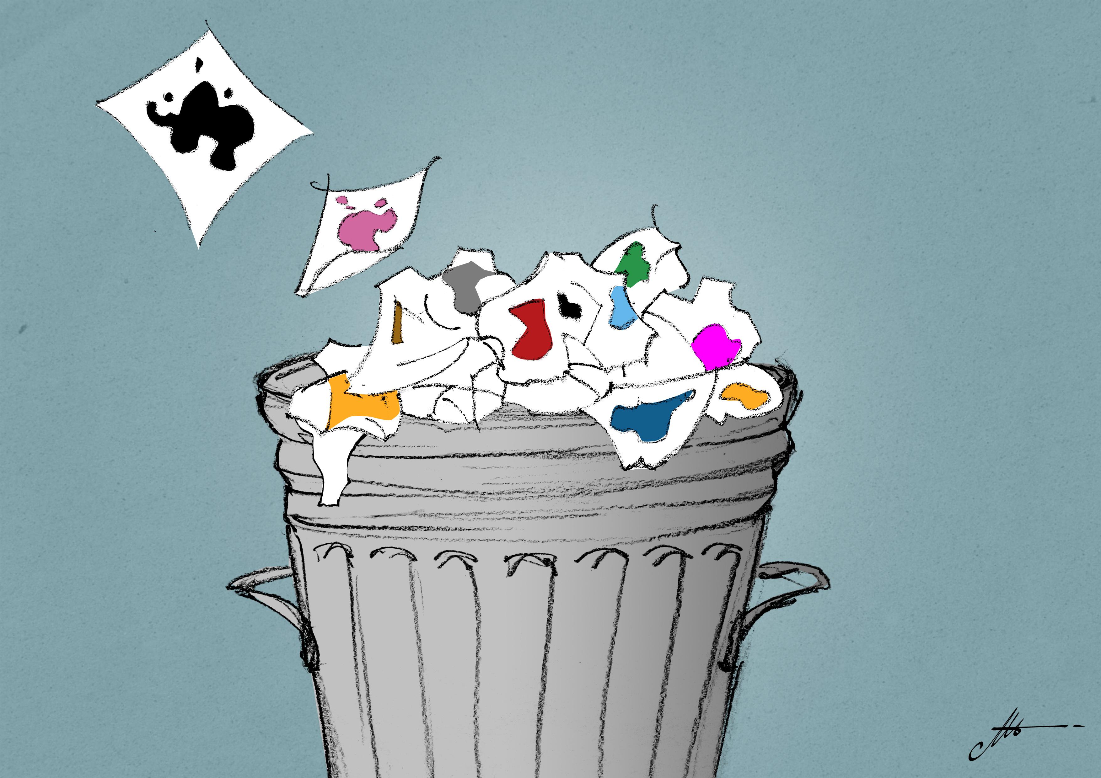 smaltire la carta sporca di inchiostro serigrafico